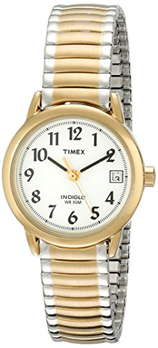 Timex Women's Easy Reader 25mm Quartz Analog Stainless Steel Strap, Two Tone, 12 Casual Watch (Model: T2H381)