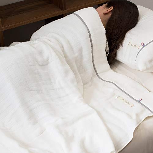 ブルーム今治タオル認定ビレアガーゼケット5重ガーゼタオルケット綿100%やわらかガーゼ生地日本製(アイボリー,シングルサイズ)