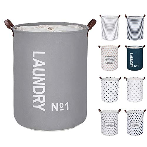 Large Laundry Hampers Large 9 Colors  GRAY Removable Laundry Basket foldable fabric laundry basket drawstring waterproof round cotton linen storage basket Thickened 1936D x 48Hcm