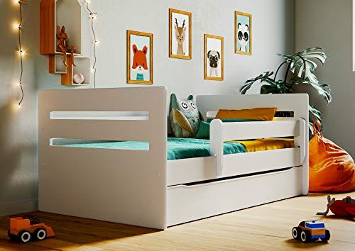 Bjird Kinderbett Jugendbett 80x160 Weiß mit Rausfallschutz Matratze Schubalde und Lattenrost Kinderbetten für Mädchen und Junge - Tomi 160 cm