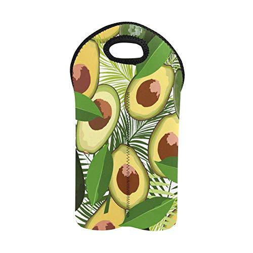 Weintragesack Avocado Nahtlos mit tropischen Blättern von P Wiederverwendbarer Weinbeutel Doppelflaschenträger Neopren Weintasche Dicker Neopren Weinflaschenhalter hält Flaschen ge