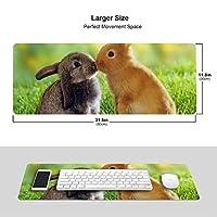 芝生の上でウサギ マウスパッド キーボードパッド 滑らかマウスパッド ゲーミングパッド 大型 オフィス 家庭用