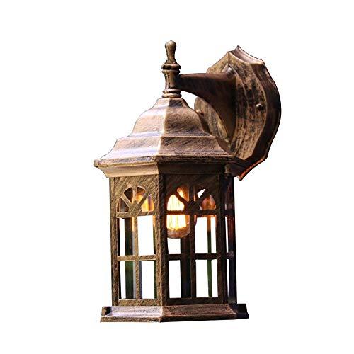 MingXinJia Aceite Frotado Mate Luz de Pared Exterior Exterior Linterna Luz Claro Vidrioacceso Al Agua Exterior Hexágono LámparasCobre