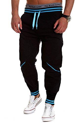 MT Styles Trainingshose Jogginghose MT-52 [Schwarz/Blau, M]