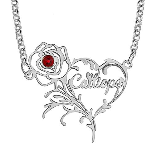 Collar con nombre Collar personalizado Collar con colgante de corazón y rosa Collar de acero inoxidable Aniversario para mujer(Plata 24)