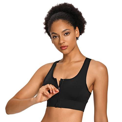 WOWENY Soutien Gorge de Sports brassière de Yoga sous-vêtement sans Armature, Femme Brassiere Zippée Devant pour Exercice Gym Sports entraînement,L,Noir