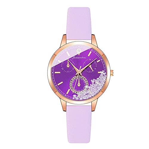 HEling Reloj de cuarzo para mujer minimalista correa de piel redonda reloj de cuarzo reloj de pulsera ajustable esfera redonda regalo vestido, H, talla única,