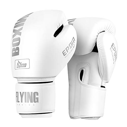 Boxing Gloves for Men and Women Suitable for Boxing Kickboxing Mixed Martial Arts Maui Thai MMA Heavy Bag Fighting Training (White, 10oz)