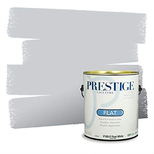 Prestige Paints P100-P-4006-1AVP Interior Paint and Primer in One, 1-Gallon, Flat, Comparable Match of Valspar Silver, 1 Gallon, VS503-Silver Leaf