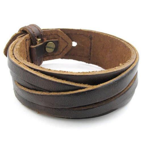 KONOV Schmuck Herren Armband, Armreif 18-20cm Verstellbaren Größen, Leder Legierung, Braun