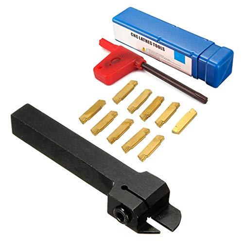 MGEHR 1212-2 Nutwerkzeughalter (12x12x100mm) mit 10 Stück MGMN200 Hartmetalleinsätzen für MGEHR/MGIVR Drehmaschinen Einstechwe