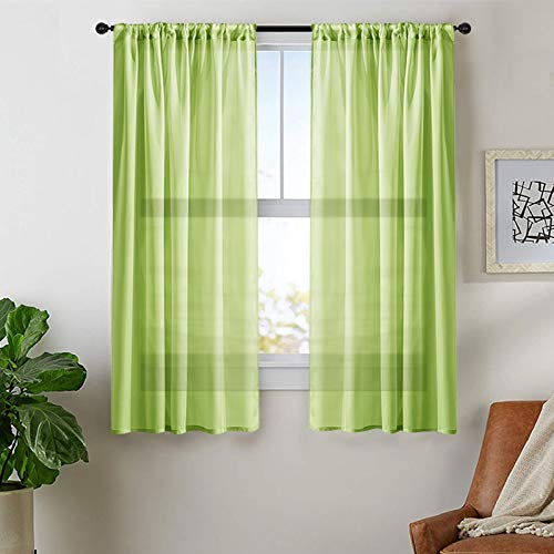 MRTREES Green Sheer Curtains Boys Room 63 inch Length Voile Curtain Panels Rod Pocket Sheers Light Filtering Bedroom Drapes Living Room Window Treatment 2 Panels