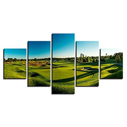 NNNLX Cuadro sobre Lienzo - 5 Piezas - Campo de Golf - Impresión En Lienzo - Impresión Pinturas Murales Decor Dibujo con Marco para Aniversario