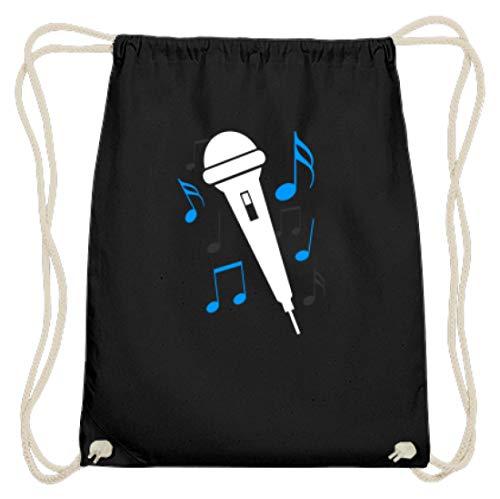 SPIRITSHIRTSHOP Micrófono, cantante, cantante, cantante, partituras, canto, música, estar, banda, hobby, famoso – algodón Gymsac, color Negro, tamaño 37cm-46cm