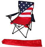 Uniware American Flag Pattern Fold-able Beach Chair, with Extra Carrying Bag, 34 x 21 x 21 Inch, Portable (1 Pack)