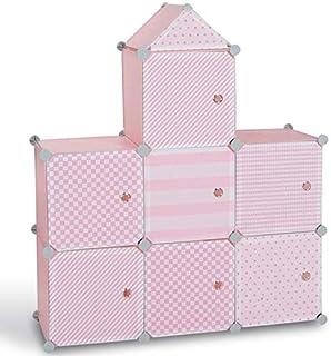 IDMarket - Meuble de rangement cube MERLIN enfant rose 7 cases