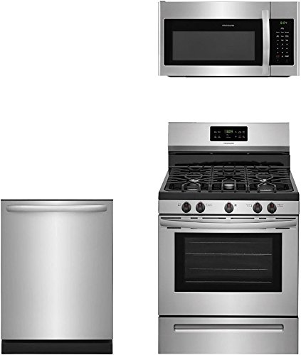 """Frigidaire 3-Piece Stainless Steel Kitchen Package with FFGF3054TS 30"""" Freestanding Gas Range, FFID2426TS 24"""" Fully Integrated Dishwasher and FFMV1645TS 30"""" Over-the-Range Microwave"""