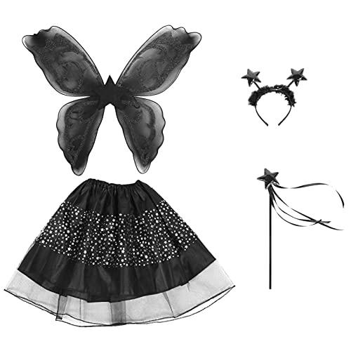 Beaupretty Disfraz de Hada para Niña de Halloween Disfraz de Falda de Mariposa Negra para Niñas Juego de Disfraz de Princesa con Alas Tutú Y Diadema para Niñas