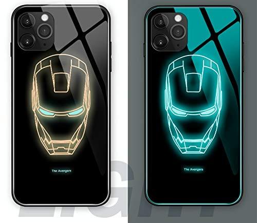 XYHS Ironman Marvel Avengers - Cover per iPhone 11 con vetro luminoso notturno (iPhone 11 Pro, Ironman)