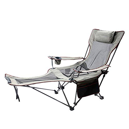 Gnohnay Folding Camping Chair, Folding Deck Chair Removable Feet Ultra Lightweight Collapsible Quad Padded Lawn Seat with Full Back, Arm Rests, Cup Holder and Shoulder Strap Carrying Bag,Gray