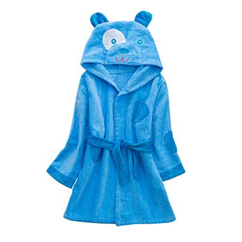 Peignoirs pour Enfants Sortie de bain à Capuchon Garçons Filles Peignoir Serviettes de Plage 3-5 Ans, Bleu