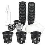 TGFIX 50 pezzi Cestini idroponici in plastica, vaso per piante idroponiche, vaso per coltura idroponica in plastica con sacchetto per piantine non tessuto 100 per piante da giardinaggio