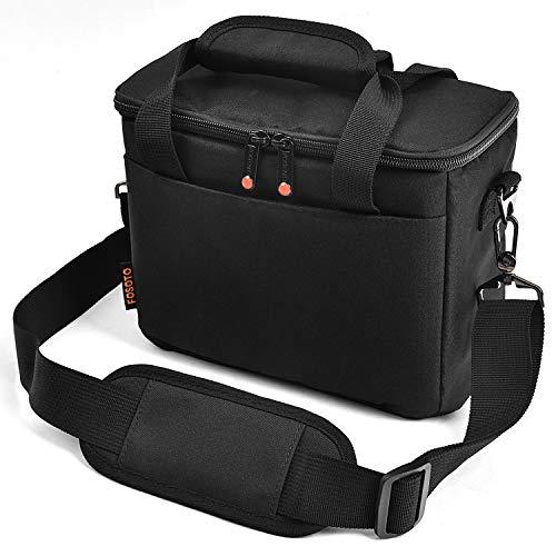 FOSOTO Padded Camera Case with Extra Rain Cover Compatible for Canon EOS Rebel T3i T5 T6 4000D SL2 Nikon B500 D3400 Panasonic Lumix FZ80 DSLR SLR Camera Lens (Black)