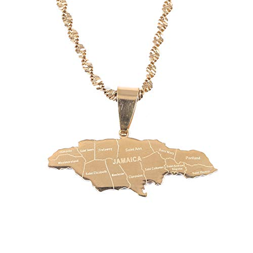 BR Gold Jewelry Stainless Steel Map of Jamaica with City Pendant Necklaces for Women Girl