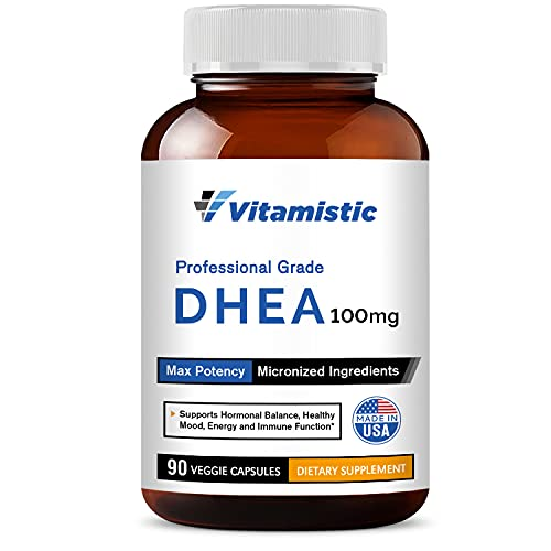 Vitamistic DHEA 100mg 90 Veggie Capsules, Micronized for High Absorption and Max Potency, Hormone Balance Formula, Non-GMO No Gluten, Dairy & Soy, Supports Energy, Healthy Mood and Immune Function