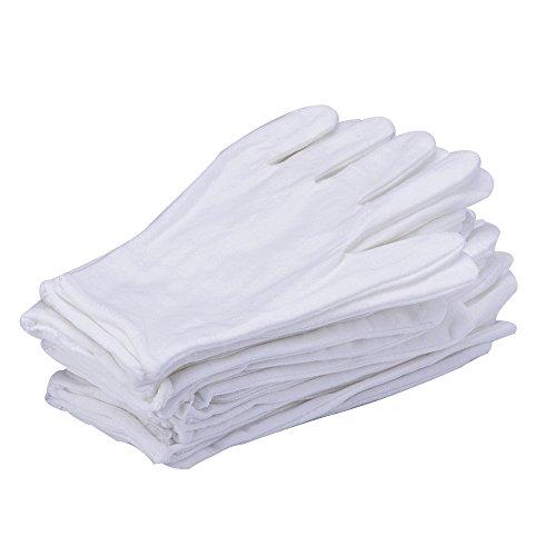 12 Paia Guanti di Cotone Lycra Bianco Guanti da Lavoro (Medio)