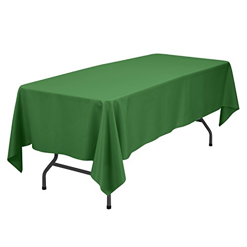 Remedios Rectangle Tablecloth 70x120 Inch - Washable Polyester Table Cloth for 6 Foot Table - Wrinkle Free Dinner Tablecloth for Wedding Party Restaurant Banquet Tables, Green Table Cloths