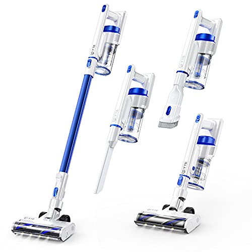 YTE Cordless Vacuum Cleaner, 15Kpa Suction Stick Vacuum 6 in 1, Up to 45 mins Runtime, 6 Stages Filtration System, Lightweight Handheld Vac with LED Headlight for Carpet Hard Floor Car Pet Hair
