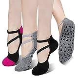 TAGVO 3 Pares de Calcetines de Yoga Antideslizantes con Correas de Moda, excelente Agarre para Mantener el Equilibrio para Mujeres, Barra, Baile, Ejercicio Descalzo y Entrenamientos en casa