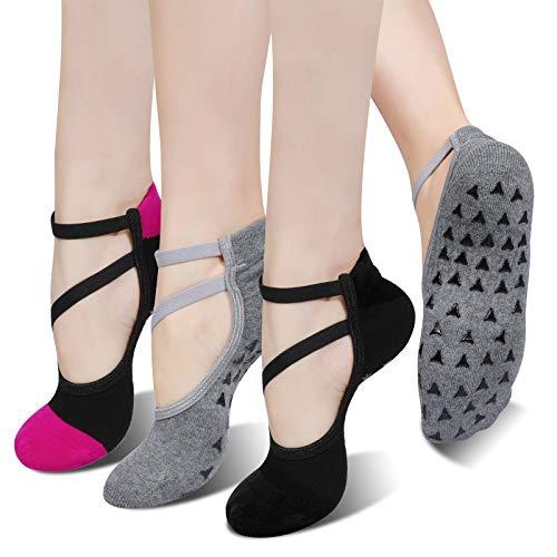 TAGVO 3 Paar rutschfeste Yoga-Socken Mit Modischen Trägern, Großartiger Griff, Ausgewogen Für Frauen Pole Fitness, Yoga, Barre, Tanz, Barfuß-Training Und Heimtraining