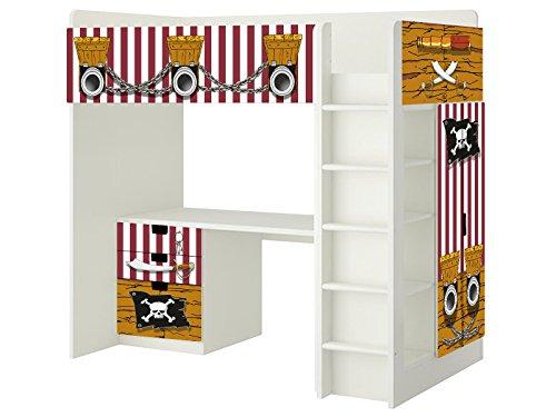 Piraten Aufkleber - SH02 - passend für die Kinderzimmer Hochbett-Kombination STUVA von IKEA - Bestehend aus Hochbett, Kommode (3 Fächer), Kleiderschrank und Schreibtisch - Möbel Nicht Inklusive | STIKKIPIX