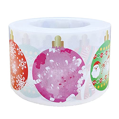 1 Roll 500Pcs Christmas Ornament Roll Stickers, Assortment Holiday Roll Sticker Merry Christmas Stickers Xmas Envelope Seals Stickers for Cards Gift Envelopes Boxes