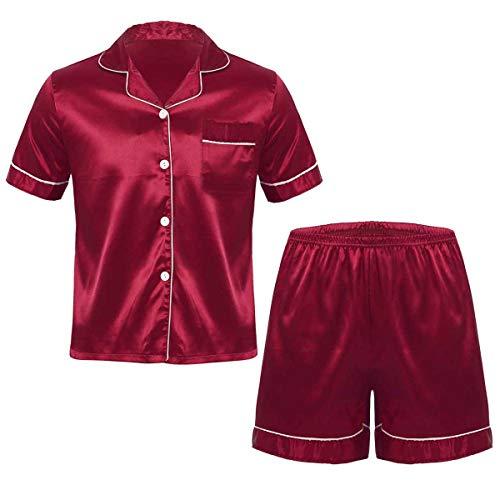 iEFiEL Vater und Sohn Herren Schlafanzug lang/kurz Satin Jungen Herren Pyjama kurz V-Ausschnitt Schlafanzug Zweiteiliger Burgundy (Herren) XL