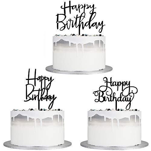 Auteby Black Happy Birthday Cake Topper Set, Double-Sided Acrylic Happy Birthday Cake Toppers /Cupcake Toppers for Children or Adults (3 pieces)