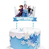 1 count Cake Topper Decorations for Frozen Ice Birthday Party Topper for Children Includes: 1 big cake topper for Ice Frozen. Size: 7.1 x 5.9 inches. Material: 100% white food grade paper stick and paper card. 【Notice】Need to be stuck manually. Produ...
