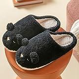 Memory Foam Zapatos,Zapatos de confinamiento Lindos y cómodos, Pantuflas de algodón para el hogar de Suela Gruesa-Negro_40-41,Classic Slipper