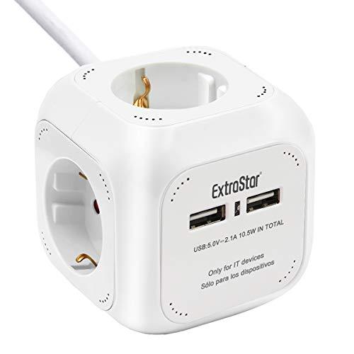 EXTRASTAR DE-Typ Power Cube 4-Fach Steckdosenwürfel mit 2 USB-Anschlüssen (5V/2.1A), 1.5M Kabel Power Würfel/Steckdosenblock/Mehrfachsteckdose/Steckdosen mit Kinderschutz - Weiß