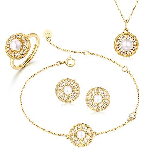 yuge 925 plata de ley para mujer, conjunto de joyas de boda, anillo de moda, pulsera y pendientes, color blanco