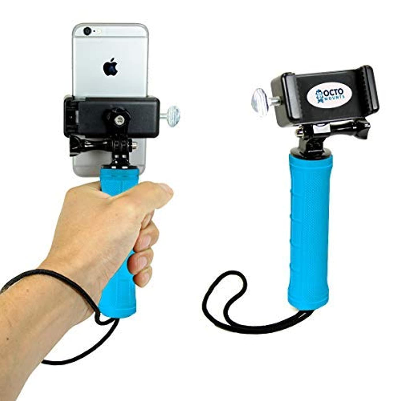 OCTO MOUNTS: Handheld Stabilizer for Cell Phone or GoPro Camera. Compatible with Action Cameras, DSLR, iPhones, Samsung Galaxy, HTC, etc. (HH Blue)