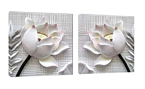 Juntung Canvas Wall Art White Lotus Flowers 2 Piece Canvas Art Blossom Contemporary Artwork for Home Decoration Office Wall Decor-36 x36 x2 Panels