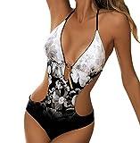 Bañadores Mujer Halter Escote V Espalda Descubierta Leopard Trajes de Baño de Una Pieza Bikinis Tallas Grandes Trikini Bañador Moldeador Vientre Plano Push Up Piscina Surf Banadores de Señora M