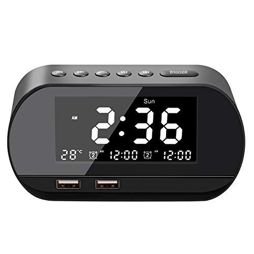 Radiowecker, FM Radiowecker Digital, Cozime Radiowecker Dual Alarm mit Zwei USB Ladeanschlüssen, Reisewecker, 6 Helligkeit,7 Alarmtöne mit 16 Lautstärke für Schlafzimmer,Kind,Büro