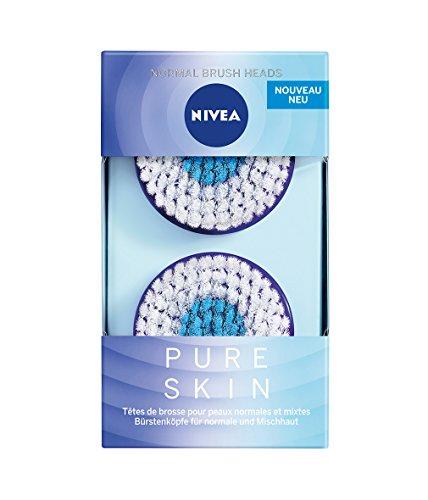 Nivea Pure Skin normale borstelkop (1 x 2 borstelkoppen), opzetstuk voor de elektrische gezichtsreinigingsborstel, gezichtsreiniging voor normale en gemengde huid