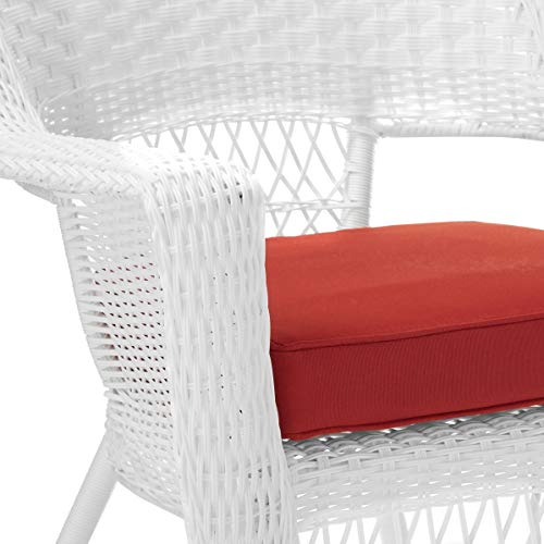 Jeco Wicker Chair with Red Cushion, Set of 2, White/W00206-