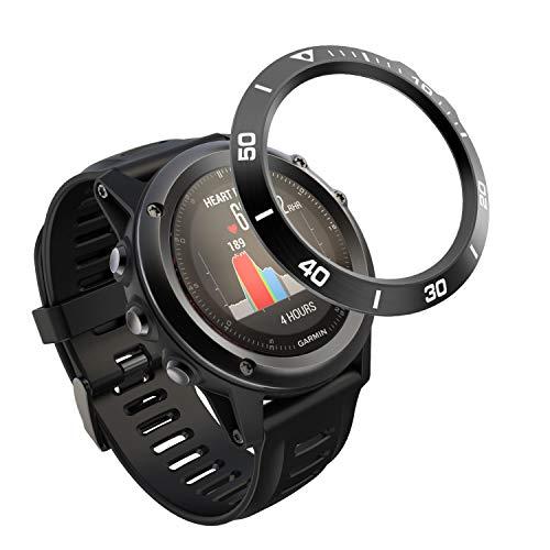 Songsier Anillo de Bisel Compatible con Fenix 3, Smart Watch Bisel Cubierta Adhesiva de Acero Inoxidable Antiarañazos Protector