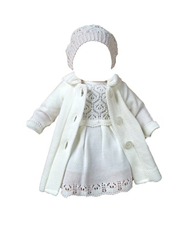 Six for Kids Ayana Edles Taufkleid Strickkleid Set 3 TLG Weiß (50/56 (0-3M))